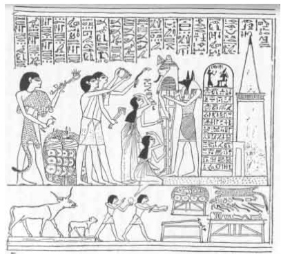 "The ceremony of ""opening the mouth"" being performed on the mummy of Hunefer, about B.C. 1350 (From the Papyrus of Hunefer, sheet 5)"