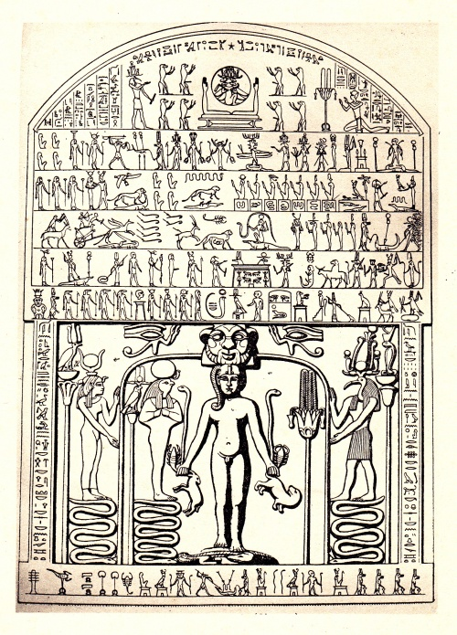 Detail, Metternich stele. (Clippus of Horus, Metternichestele, ed. Golenischeff, plate 1.) Reproduced from E.A. Wallis Budge, Egyptian Magic, p. 149.