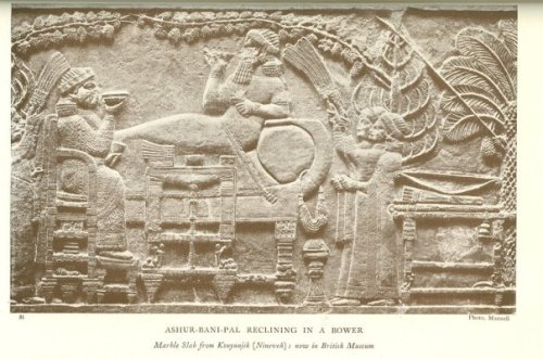 Ashur-bani-pal in the palace of Nineveh.