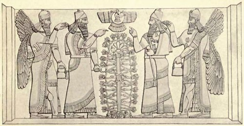 The Tree of Life with Assyrian King and with winged creature as guardian and fertilizer of the Tree — Symmetrically repeated.
