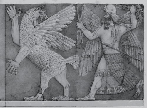 Battle between Marduk (Bel) and Tiamat. Drawn from a bas-relief from the Palace of Ashur-nasir-pal, King of Assyria, 885-860 B.C., at Nimrûd. British Museum, Nimrûd Gallery, Nos. 28 and 29. http://bharatkalyan97.blogspot.com/2013/06/tablet-of-destinies.html