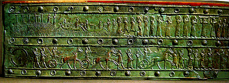 Bronze band from the Palace Gates of Shalmaneser III in the British Museum.  The scenes show in the upper tier the king receiving tribute from Tyre and Sidon in Lebanon and in the lower tier the conquest of the town of Hazuzu in Syria. https://en.wikipedia.org/wiki/Balawat_Gates