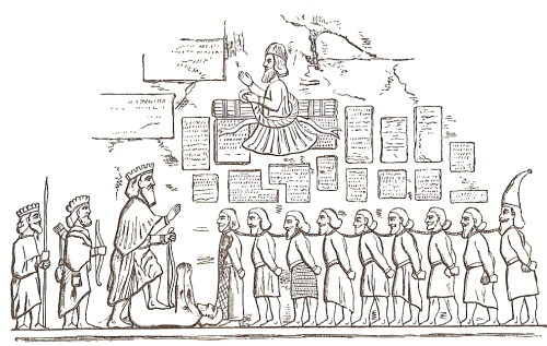 A penciled illustration of the Behistun Inscription.  https://commons.wikimedia.org/wiki/File:Behistun_Inscription_Eger.png