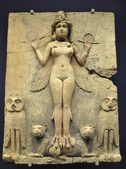 Burney Relief, Babylon (1800-1750 BCE). The figure in the relief was sometimes identified with Lilith, based on a misreading of an outdated translation of the Epic of Gilgamesh. Modern research has identified the figure as either Ishtar or Ereshkigal. https://upload.wikimedia.org/wikipedia/commons/1/19/Burney_Relief_Babylon_-1800-1750.JPG