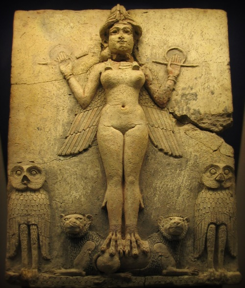 The Burney Relief (also known as the Queen of the Night relief) is a Mesopotamian terracotta plaque in high relief of the Isin-Larsa- or Old-Babylonian period, depicting a winged, nude, goddess-like figure with bird's talons, flanked by owls, and perched upon supine lions. The relief is displayed in the British Museum in London, which has dated it between 1800 and 1750 BCE.    However, whether it represents Lilitu, Inanna/Ishtar, or Ereshkigal, is under debate.  https://en.wikipedia.org/wiki/Burney_Relief