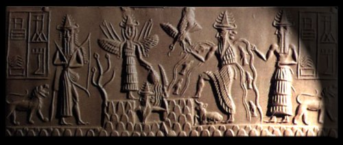 "From left, Storm God Ninurta, with bows and arrows. Ishtar, queen of heaven and earth, is elevated, with wings and spears and maces on her shoulders. The tree of life sprouts to her right, our left.  The Sun God Shamash rises from the mountain Kur in the center, with rays of light on his shoulder. The God of Water and Wisdom, Enki/Ea battles the bird-god Imdugud/Anzu, with depictions of the Tigris and Euphrates rivers and fish coursing from his shoulders.  At far right is the deified vizier Usmu, the two-faced.  All gods wear conical hats with four pairs of horns. At far left is the word Adda in Accadian cuneiform, ""Scribe."" Accordingly this cylinder seal is known as the Seal of Adda, Akkadian period, 2350-2100 BCE. British Library.  http://www.ancientworlds.net/aw/Article/787375"