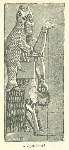A depiction of the God Ea, Adapa, or Oannes.