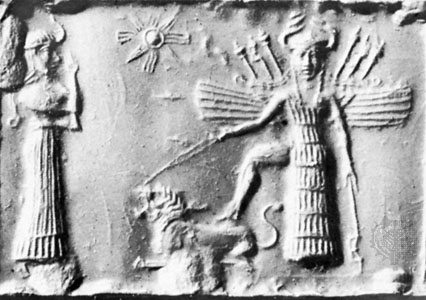 Detail of the goddess Ishtar. From a cylinder seal in the British Museum.