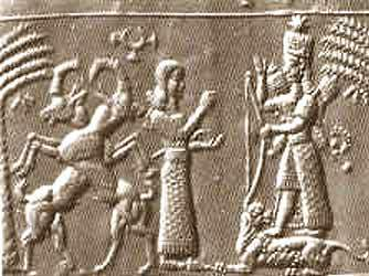 This finely cut seal depicts Ishtar, Mesopotamian goddess of sexuality and warfare.  Her strength as a warrior is stressed here, as she is shown with weapons rising from her shoulders. Ishtar appears to have been associated at an early period with the Sumerian goddess Inanna and both deities are depicted with symbols of fertility, such as the date palm, and of aggression, such as the lion.  This iconography survived relatively unchanged for over a thousand years. Here, Ishtar's astral quality is also emphasized: above her crown is a representation of the planet Venus.  In the first millennium BC more unusual stones were used to make seals: this one is made of green garnet, which may have come from northern Pakistan. British Museum, ME 89769, acquired 1835. D. Collon, First impressions: cylinder seals (London, The British Museum Press, 1987) H. Frankfort, Cylinder seals (London, Macmillan, 1939) http://www.britishmuseum.org/explore/highlights/highlight_objects/me/g/garnet_cylinder_seal_ishtar.aspx