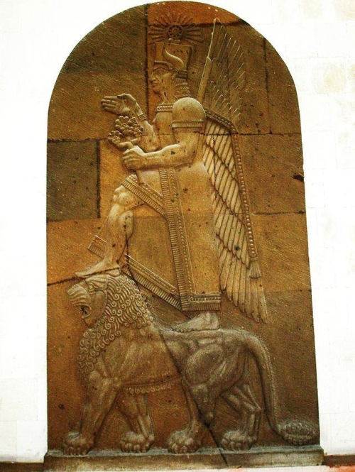 Ḫaldi was the chief deity of the Ararat (Urartu) pantheon. His shrine at Ardini (likely from Armenian Artin), was in Akkadian Muṣaṣir (Exit of the Serpent/Snake).  Of all the gods of the Ararat (Urartu) pantheon, most inscriptions are dedicated to Khaldi or Hayk (Armenian: Հայկ) or Hayg, also known as Haik Nahapet (Հայկ Նահապետ, Hayk the Tribal Chief), the legendary patriarch of the Armenian nation.  He is portrayed as a man standing on a lion. The kings of Urartu prayed to Khaldi for victory in battle. Temples dedicated to Khaldi were adorned with weapons. https://aratta.wordpress.com/2014/10/25/kaldikali-hel/