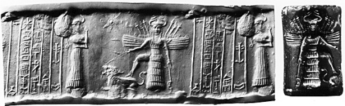 Goddess Ishtar, center, with wings, standing armed with one foot on a lion, her symbol.  The goddess is portrayed wearing the horned headdress of divinity and indistinct weaponry on her back.