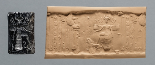Iraq Akkadian Period Reign of Naramsin or Sharkalishari, ca. 2254-2193 B.C. Black stone Purchased in New York, 1947 Oriental Institute Museum A27903 This cylinder seal was dedicated to a little-known goddess, Ninishkun, who is shown interceding on the owner's behalf with the great goddess Ishtar.  Ishtar places her right foot upon a roaring lion, which she restrains with a leash. The scimitar in her left hand and the weapons sprouting from her winged shoulders signify her war-like character. https://oi.uchicago.edu/collections/highlights/highlights-collection-mesopotamia