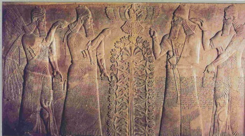 Stone relief from the throne room of Ashurnasirpal II. Nimrud (ancient Kalhu), northern Iraq. Neo-Assyrian, 870–860 BC. This Assyrian relief is from the throne room of the North-West Palace of Ashurnasirpal II (reigned 883-859 BC) at Nimrud in northern Iraq. It was originally positioned behind the king's throne. Ashurnasirpal appears twice, shown from two sides, dressed in ritual robes and holding a mace symbolising his authority. The figure of the king on the right makes a gesture of worship to a god in a winged disk in the top centre of the relief.  The source of the king's power may be Ashur, the national god, or Shamash, the god of the sun and justice.  He holds a ring in one hand, an ancient Mesopotamian symbol of god-given kingship. The figure of the king on the left appears to gesture towards a Sacred Tree in the centre. This balanced combination of steams and foliage is a symbol of fertility and abundance given by the gods. Behind the king, on either side of the relief, is a winged protective spirit who blesses and purifies Ashurnasirpal using a cone-shaped object to sprinkle liquid from a ritual bucket. The relief thus summarises visually the main ideas of Assyrian kingship; he is the source of abundance provided by the gods. Ancient visitors approaching the enthroned king would have thus seen three royal figures, the living king facing them, and, on either side of him, two carved images showing Ashurnasirpal's relationship with the gods.  Emerging from behind the king himself would be the Sacred-Tree. There was another almost identical relief opposite the main door of the throne room, and similar scenes occupied prominent positions in other Assyrian palaces. They were also embroidered on the royal clothes. J.E. Reade, Assyrian sculpture (London, The British Museum Press, 1983) Excavated by Austen Henry Layard, 1845-7 ME 124531, Room 7-8: Assyria: Nimrud http://www.britishmuseum.org/explore/highlights/highlight_objects/me/s/stone_throne_room_relief.aspx