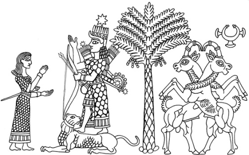 Ishtar receives the worship of an Amazon. Ishtar stands on a lion, holding a bow with arrows at her back. Her eight-pointed star is atop her head.