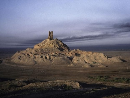 The Birs-i-Numrud, alleged to be the ruined remains of the historical Tower of Babel.  Current dimensions are 150 feet high with a circumference of 2300 ft.  https://www.pinterest.com/pin/206180489165185035/