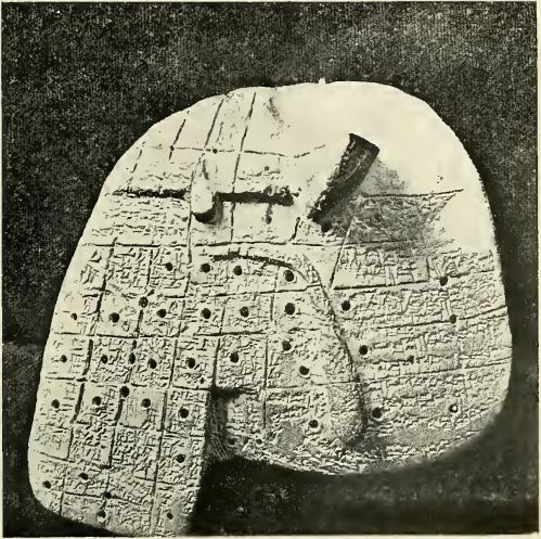 Simulacrum of a sheep's liver, inscribed with magical formulae for purposes of divination by the priests of Babylon.   Photo W. A. Mansell and Co. Lewis Spence, Myths and Legends of Babylonia and Assyria, London, 1917. P. 281. http://www.wisdomlib.org/uploads/images/clay-object.jpg