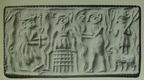 """Cylinder seal impression which may portray Dumuzi retained in the underworld, flanked by snakes."" (cf. illustration and text on p. 71. Henrietta McCall. Mesopotamian Myths. London. British Museum Publications in cooperation with the University of Texas Press, Austin. 1990, 1993) http://www.bibleorigins.net/CherubimOrigins.html"