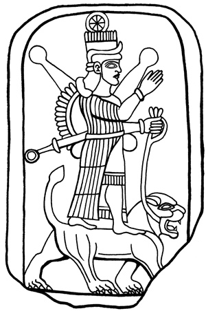 Ishtar, in a characteristic posture atop a lion, her animal. The goddess has weaponry on her back, and handles her lion with a leash. Her eight-pointed star is on her head.