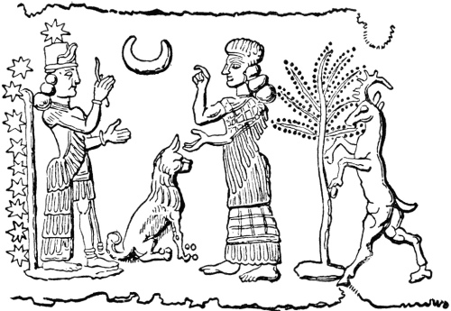 I am unsure of the provenance of this drawing of a seal impression.  The goddess Istar appears at far left, the vault of the heavens at her back, identified by her idiosyncratic eight-pointed star atop her head.  The Moon God Sin is depicted at center, denoted by his inverted crescent moon.