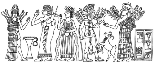 Ishtar is depicted at far left, wearing the horned headdress of divinity, with weapons on her back and a long knife in her hand.  A worshipper presents a sacrificial animal, next to an uncertain goddess depicted with water flowing from her vase.  Ea appears with a fishtail hanging behind him, and an antelope bucking beside him.  I am not certain which goddess appears at far right.