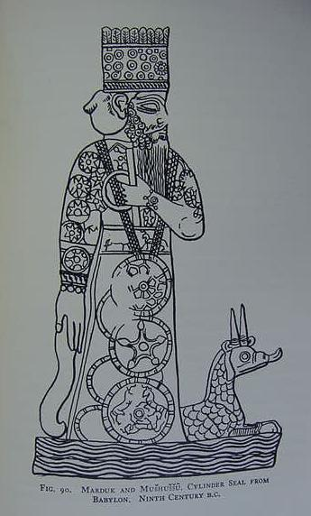 "Marduk, the supreme god of Babylon. At his feet the Mushhushshu Serpent-dragon, which he overpowered when he defeated Tiamat, mother of the gods, who sought to destroy the land-dwelling gods.<br />  In this myth the Serpent-dragon was a creature of Tiamat's (for the image cf. p. 301. Stephen Herbert Langdon. The Mythology of All Races- Semitic. Vol. 5. Boston. Marshall Jones Company. 1931).<br />  This drawing is after a 9th century BCE Babylonian cylinder seal. The Assyrians later declared their God Asshur as the god who defeated Tiamat, and Marduk's serpent-dragon was portrayed as accompanying Asshur.<br />  Marduk's robe depicts the heavenly night sky with all its stars.<br />  I believe that the large circular medallions hanging from Marduk's neck are among the few portrayals of the me, the tablets of destinies, in all Assyrian art.<br />  Marduk was also called ""the son of the Sun,"" ""the Sun"" and ""bull-calf of the Sun"" (Babylonian amar-utu).<br />  http://www.bibleorigins.net/SerpentDragonMardukAsshur.html"