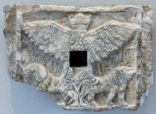 Zu or Anzu (from An 'heaven' and Zu 'to know' in Sumerian language), as a lion-headed eagle, ca. 2550–2500 BCE, Louvre.  Votive relief of Ur-Nanshe, king of Lagash, representing the bird-god Anzu (or Im-dugud) as a lion-headed eagle.  Alabaster, Early Dynastic III (2550–2500 BCE). Found in Telloh, ancient city of Girsu.  H. 21.6 cm (8 ½ in.), W. 15.1 cm (5 ¾ in.), D. 3.5 cm (1 ¼ in.)  http://bharatkalyan97.blogspot.com/2013/07/legend-of-anzu-which-stole-tablets-of.html