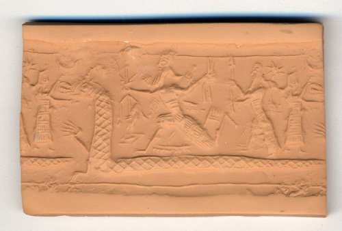 British Museum 89589. A black serpentinite cylinder seal in the linear style portrays a snout-nosed, horned reptile, probably Tiamat as a dragon. The upper third of its long body rises from two front paws or hands, one of which is raised; the remainder of the body runs around the bottom of the seal and supports three figures; there are no hind legs.  A bearded god, Ninurta or Bel-Marduk, runs along the reptile's body with crossed, wedge-tipped quivers on his back. In his right hand he holds a six-pronged thunderbolt below which is a rhomb, while in his left he holds two arrows.  Behind the god, a smaller bearded god in a horned head-dress holds a spear before him.  On the tail of the reptile stands a goddess, who holds her arms open to seize the snout of the reptile.  To the left of her head is the eight-rayed star of Istar and the inverted crescent of the Moon God Sin.  The seal may illustrate a scene from the epic of creation in which the forces of chaos, led by Tiamat, are defeated by a god representing cosmic order, Ninurta, or Bel-Marduk.  © The Trustees of the British Museum http://www.britishmuseum.org/research/collection_online/collection_object_details/collection_image_gallery.aspx?assetId=159863&objectId=277961&partId=1