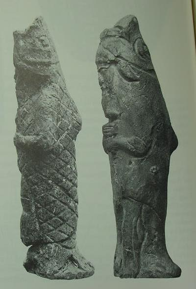 Antediluvian apkallū portrayed as fish-men, such mixed-species creatures were the teachers of men.<br />  These specific statuettes were buried in the foundations of the home of an exorcist, where they were positioned beneath doorways and against particular walls to exert a prophylactic effect, warding off evil.<br />  The antediluvian type of apkallū, the so-called purādu-fish, are often grouped in sevens.