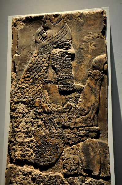 This protective spirit (Apkallu or Abkallu) guarded the entrance to the temple of Ninurta at Nimrud. A fish's head can be seen on Apkallu's head, and its skin hangs down over the back of Apkallu's body.  Neo-Assyrian era, 865-860 BCE. From the Temple of Ninurta, Nimrud (ancient Ka