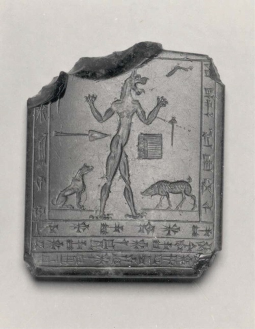Lamashtu demon amulet, ca. early 1st millennium B.C., Mesopotamia or Iran, Obsidian. James N. Spear Gift, 1984 Accession Number: 1984.348 Metropolitan Museum of Art. http://www.metmuseum.org/collection/the-collection-online/search/326961