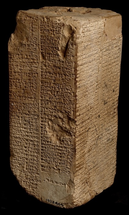 Among the extant exemplars of the Sumerian King List, the Weld-Blundell prism in the Ashmolean Museum cuneiform collection represents the most extensive version as well as the most complete copy of the King List.  Listing rulers from the antediluvian dynasties to Suen-magir, the fourteenth ruler of the Isin dynasty (ca. 1763–1753 B.C.), the prism has four sides with two columns on each side.  The prism is perforated, and it originally stood on a wooden spindle going through its centre so that it could be rotated and read on all four sides. http://cdli.ox.ac.uk/wiki/doku.php?id=the_sumerian_king_list_sklid=the_sumerian_king_list_skl