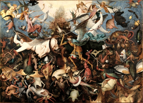 The Fall of the Rebel Angels is an oil-on-panel by Flemish renaissance artist Pieter Bruegel the Elder, painted in 1562. It is currently held and exhibited at the Royal Museums of Fine Arts of Belgium in Brussels. Bruegel's depiction of this subject is taken from a passage from the Book of Revelation (12, 2-9) and reveals the artist's profound debt to Hieronymous Bosch, especially in the grotesque figures of the fallen angels, shown as half-human, half-animal monsters. Together with Dulle Griet and The Triumph of Death, which have similar dimensions, it was probably painted for the same collector and destined to become part of a series. https://en.wikipedia.org/wiki/The_Fall_of_the_Rebel_Angels_(Bruegel)