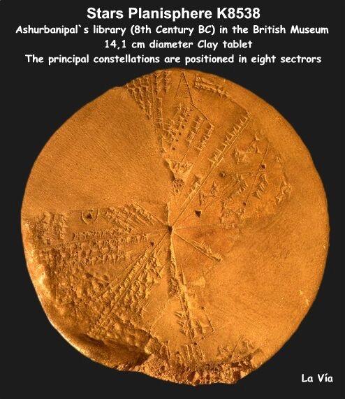 Di seguito possiamo vedere una tavoletta della collezione Kuyunjik, rinvenuta fra le rovine della biblioteca reale di Ashurbanipal (668-627 a.C.) a Ninive, capitale dell'antica Assiria, ed è attualmente esposta al British Museum di Londra (K8538). La scrittura cuneiforme cita chiaramente i nomi di stelle e di pianeti. Insomma la mappa era un planisfero a 360 gradi, ossia la riproduzione di una superficie sferica su un piano dei cieli con al centro la Terra. http://www.lavia.org/italiano/archivio/calendarioakkadit.htm
