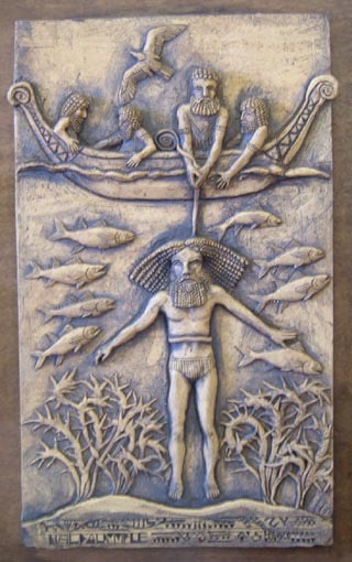 A modern depiction of Gilgamesh harvesting the Plant of Life from the ocean floor, guided by Utnapishtim, the deified survivor of the Deluge.  http://www.mediahex.com/Utnapishtim