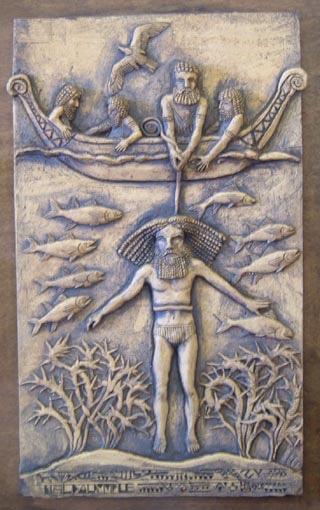 A modern depiction of Gilgamesh harvesting the Plant of Life from the ocean floor, guided by Utnapishtim, the deified survivor of the Deluge.  http://www.mediahex.com/Utnapishtim