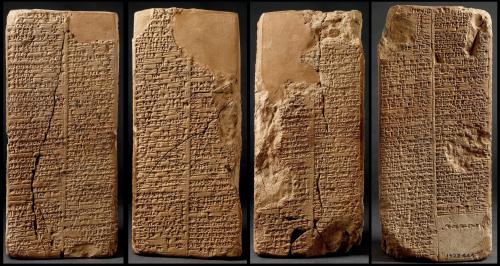 Among all the extant exemplars of the Sumerian King List, the Weld-Blundell prism in the Ashmolean Museum cuneiform collection represents the most extensive version as well as the most complete copy of the King List.  In this depiction, all four sides of the Sumerian King List prism are portrayed.  It lists rulers from the antediluvian dynasties to Suen-magir, the fourteenth ruler of the Isin dynasty (ca. 1763–1753 B.C.).   The prism contains four sides with two columns on each side. Perforated, the prism must originally have a wooden spindle going through its centre so that it might be rotated and read on all four sides. http://cdli.ox.ac.uk/wiki/doku.php?id=the_sumerian_king_list_sklid=the_sumerian_king_list_skl