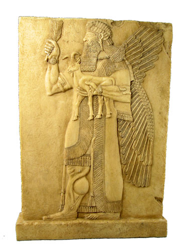"This um-apkallū holds a feather in his right hand, raised, and holds a small goat in his left hand.  The tassels on his robe are distinct, as are the bracelets on his upper arms, just above his elbows.  The headdress is unknown to me.  Wiggermann appears to favor the ür-term ""lamassu"" for all such apkallu figures."