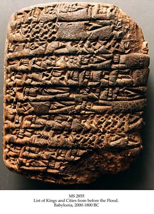 "Text:  ""IN ERIDU: ALULIM RULED AS KING 28,800 YEARS. ELALGAR RULED 43,200 YEARS. ERIDU WAS ABANDONED. KINGSHIP WAS TAKEN TO BAD-TIBIRA. AMMILU'ANNA THE KING RULED 36,000 YEARS. ENMEGALANNA RULED 28,800 YEARS. DUMUZI RULED 28,800 YEARS. BAD-TIBIRA WAS ABANDONED. KINGSHIP WAS TAKEN TO LARAK. EN-SIPA-ZI-ANNA RULED 13,800 YEARS. LARAK WAS ABANDONED. KINGSHIP WAS TAKEN TO SIPPAR. MEDURANKI RULED 7,200 YEARS. SIPPAR WAS ABANDONED. KINGSHIP WAS TAKEN TO SHURUPPAK. UBUR-TUTU RULED 36,000 YEARS. TOTAL: 8 KINGS, THEIR YEARS: 222,600"" MS in Sumerian on clay, probably Larsa Babylonia, 2000-1800 BC, 1 tablet, 8,1x6,5x2,7 cm, single column, 26 lines in cuneiform script. 5 other copies of the Antediluvian king list are known only: MS 3175, 2 in Oxford: Ashmolean Museum, one is similar to this list, containing 10 kings and 6 cities, the other is a big clay cylinder of the Sumerian King List, on which the kings before the flood form the first section, and has the same 8 kings in the same 5 cities as the present.  A 4th copy is in Berkeley: Museum of the University of California, and is a school tablet. A 5th tablet, a small fragment, is in Istanbul. The list provides the beginnings of Sumerian and the world's history as the Sumerians knew it. The cities listed were all very old sites, and the names of the kings are names of old types within Sumerian name-giving. Thus it is possible that correct traditions are contained, though the sequence given need not be correct. The city dynasties may have overlapped. It is generally held that the Antediluvian king list is reflected in Genesis 5, which lists the 10 patriarchs from Adam to Noah, all living from 365 years (Enoch) to 969 years (Methuselah), altogether 8,575 years.  It is possible that the 222,600 years of the king list reflects a more realistic understanding of the huge span of time from Creation to the Flood, and the lengths of the dynasties involved.  The first of the 5 cities mentioned , Eridu, is Uruk, in the area where the myths place the Garden of Eden, while the last city, Shuruppak, is the city of Ziusudra, the Sumerian Noah. Jöran Friberg: A remarkable Collection of Babylonian Mathematical Texts. Springer 2007.  Sources and Studies in the History of Mathematics and Physical Sciences.  Manuscripts in the Schøyen Collection, vol. 6, Cuneiform Texts I. pp. 237-241. Andrew George, ed.: Cuneiform Royal Inscriptions and Related Texts in the Schøyen Collection, Cornell University Studies in Assyriology and Sumerology, vol. 17,  Manuscripts in the Schøyen Collection, Cuneiform texts VI. CDL Press, Bethesda, MD, 2011, text 96, pp. 199-200, pls. LXXVIII-LXXIX. Andrew E. Hill & John H. Walton: A survey of the Old Testament, 3rd ed., Grand Rapids, Mi., Zondervan Publ. House, 2009, p. 206.  Zondervan Illustrated Bible, Backgrounds, Commentary. John H. Walton, gen. ed. Grand Rapids, Mich., Zondervan, 2009, vol 1, p. 482, vol. 5, p. 398. Babylonia 2000 - 1800 BC"