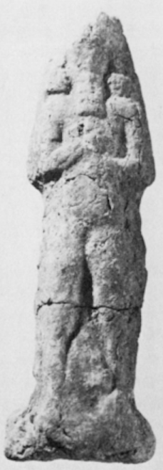 ND 7901. Sun-dried clay figurine of a scorpion-tailed, bird-footed human creature, discovered with figures of other types in the fill of room SE 5 of Fort Shalmaneser, Nimrud. Plate XIIIc.