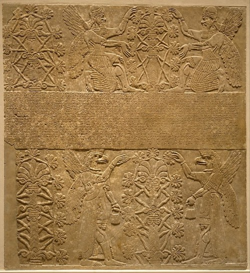 In this bas relief from Nimrud, human apkallū, the ummánū, kneel and tend to a sacred tree.<br />  Both ummânū wear horned tiaras and display rosette bracelets on their wrists. Bracelets are also apparent on their upper arms.<br />  In the lower register, bird-apkallū raise mulillu cones to sprinkle water in a gesture of exorcism and liberation of sin.<br />  As is typical, the banduddu buckets are in their left hands.<br />  Interestingly in this case, the bracelets are atypical, and only one rosette insignia can potentially be discerned. This sort of specificity must be deliberate. What it portends, however, remains speculative.
