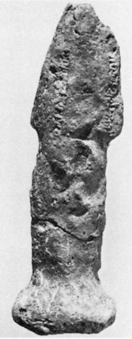 ND 7901. Sun-dried clay figurine of a scorpion-tailed, bird-footed creature, discovered with figures of other types in the fill of room SE 5 of Fort Shalmaneser, Nimrud. Reverse of Plate XIIIc. This image is Plate XIVb.