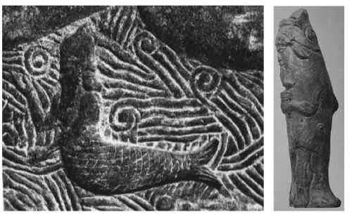 "A ""fish-man"" / kulullû is depicted at left, and a fish-apkallū at right.  Wiggermann distinguishes these two entities."