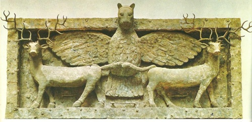 This lion-headed eagle was called Anzu in Akkadian and Imdugud in Sumerian. It was symbolic of the god Ningursu.  In the Myth of Anzu, the Anzu steals the me, the Tablet of Destinies, from the god Ea, when he disrobed to bathe.  The Tablet of Destinies was a cuneiform tablet upon which the fates of all creatures were written, granting its holder supreme power.  It was Ningursu who defeated the Anzu and recovered the me. Other versions of the myth claim that Anzu stole the me from Enlil, with Ninutra recovering it.  Source: Stephanie Dalley, Myths From Mesopotamia: Creation, The Flood, Gilgamesh, and Others, Oxford University Press, 1991.  http://www.piney.com/Babmythanzu.html This panel was excavated from the ruins at the base of the Temple of Goddess Ninhursag at Tell-Al-Ubaid in Southern Mesopotamia (Iraq).  Dated to the Early Dynastic Period, circa 2500 BCE, this artifact is currently held by The British Museum.  Photo by Osama Shukir Myhammed Amin, this file is licensed under the Creative Common Attribution-Share Alike 4.0 International license.  https://commons.wikimedia.org/wiki/File:Frieze_of_Imdugud_(Anzu)_grasping_a_pair_of_deer,_from_Tell_Al-Ubaid..JPG