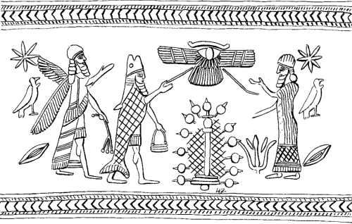 Apkallus type 1 and 2, Stephanie Dalley, IDD.<br />  Two forms of Apkallu are depicted here, the umu-apkallu or ummanu on the left, holding what appears to be a branch with poppy bulbs, and the puradu-fish type with banduddu bucket in left hand.<br />  The sacred tree appears at center, beneath a winged device whose meaning is unclear to me.<br />  The figure on the right is probably a king, as the rich garment is not topped by a horned tiara, indicative of divinity.