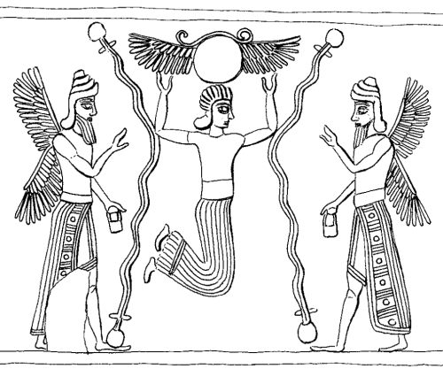 Apkallu type 1, illustration 14, Stephanie Dalley, IDD.  As Dalley notes, these type 1 apkallu have banduddu buckets in their left hands and appear to be gesturing with empty right hands. They are remarkable for crowns or tiaras with three horns, an indicator of divinity, or in the case of the umu-apkallu, of semi-divinity.   The central figure appears to be suspended beneath a winged disk. Unlike the apkallu, the central figure is beardless and without wings.  The wiggly lines probably portray water, flowing between what appear to be jugs.