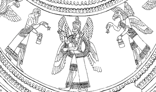 Apkallu type 3, illustration 36 (detail) Stephanie Dalley, IDD.<br /> The bird-headed type 3 Nisroc apkallu is on the right, with banduddu bucket in the left hand and an indistinct item in his raised right hand.<br /> The figure on the left lacks wings, though it mimics the blessing gesture and the banduddu bucket of the right-side apkallu. The left side figure may not be an apkallu at all. Perhaps it is a priest. Or a human um-apkallu. It lacks all symbols of divinity or semi-divinity.<br /> The central figure is problematic for me, wearing a crown which reminds me of a depiction of the god Anu. The problem is that Assyriologists aver that no representations of Anu exist.<br /> Like the atypical illustration below, this one wears a large ring around the torso. This figure also holds a ring in his left hand, raising his right hand in the classical gesture of greeting.