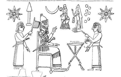 "Apkallu type 2, illustration 41, Stephanie Dalley, IDD.<br />  Stephanie Dalley observes that the apkallu in this illustration ""may function as a filling motif in a scene with an offerings table and divine symbols.""<br />  Indeed the apkallu is not the focus of this illustration at all, which appears to portray a king (or a divinity?) receiving the blessings of a beardless priest with what appears to be a whisk in his raised left hand.<br />  The king, or divinity, wears a horned cap with three tusks at the apex.<br />  This illustration is significant for its repetitive eight-rayed stars, evocative of Ištar. The seven heavenly entities of Mesopotamian cosmogony are portrayed as small circles. The god in the winged conveyance is generally considered a reference to Aššur or Marduk, though he displays the sun disc of Shamash. The inverted crescent of the Moon god Sin, and the wedge mounted upon a stand, which I believe represents Nabu, complete the upper register.<br />  On this wedge symbol, Wiggermann, The Mesopotamian Pandemonium, 2011, is mute."