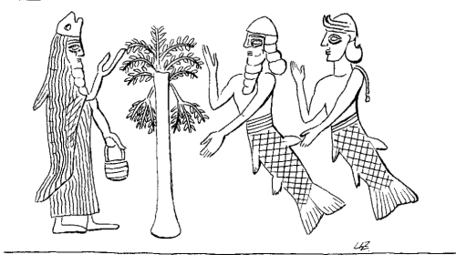 Apkallu type 2. Stephanie Dalley, IDD.<br />  A puradu-fish apkallu appears to the left of the sacred tree, with two fish-men, apparently a merman and a mermaid, on the right.<br />  Wiggermann identified these composite beings as kullilu.