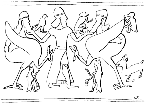 "Wiggermann and Green call this composite being ""Scorpion-tailed bird-man."" He has a human upper torso, an avian body, and a scorpion tail.<br />  In this drawing from Dalley's article on the Apkallu, puradu-fish apkallu can be seen beneath them (Dalley, figure 50).<br />  Anthony Green, ""Mischwesen. B,"" Reallexikon der Assyriologie (RLA), 1994, pp. 254-5. figure 15."