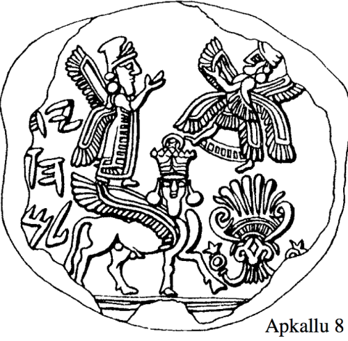 "Apkallu type 1, Illustration 8, Stephanie Dalley, IDD.<br /> Dalley notes that this ""Hebrew seal"" may not be genuine, as it features a winged, man-faced bull ""Aladlammu"" serving as a ""pedestal animal for a divine figure.""<br />  What intrigues me is the crown worn by the man-faced bull, which resembles the crown portrayed on previous depictions alleged to be the god Anu. I do not propose that this man-faced bull is Anu, but his dual-horned headdress is surmounted by a disc-shaped device which is more ornate than the headdress on any other figure on this seal. The crown in this context is problematic, and it raises questions. <br /> Dalley compares illustration 8 to illustration 9, below, as ""another West Semitic or (or rather South Semitic) seal with this type of apkallu standing alone."""